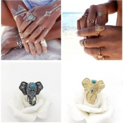 1db Vintage Türkiz Elefánt ujj gyűrűk ékszerek