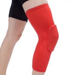 Piros-XL - Antislip kosárlabda láb térdvédő Crashproof hosszú ujjú hajtómű Méhsejt pad