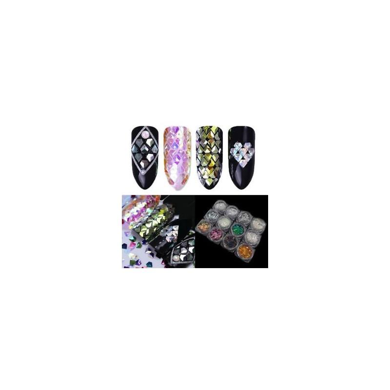 34eb8ce3d4 7 - Holo színes kaméleon gyémánt 3D-s körömfényes csillogó flitterek  manikűr díszítéssel