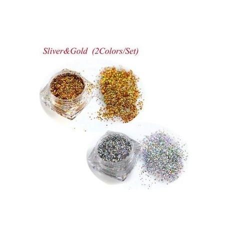 989e881c2b ezüst & amp arany - Holografikus ezüst köröm glitter púder manikűr dísz  porfesték Paillette