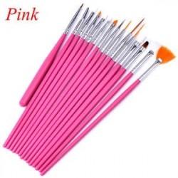b4fbb2a9d0 Rózsaszín - 15Pcs / Set Nail Art Akril UV Gel Design Ecset készlet Festék  Pencil Tips