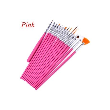 717686d739 Rózsaszín - 15Pcs / Set Nail Art Akril UV Gel Design Ecset készlet Festék  Pencil Tips Tool Kit