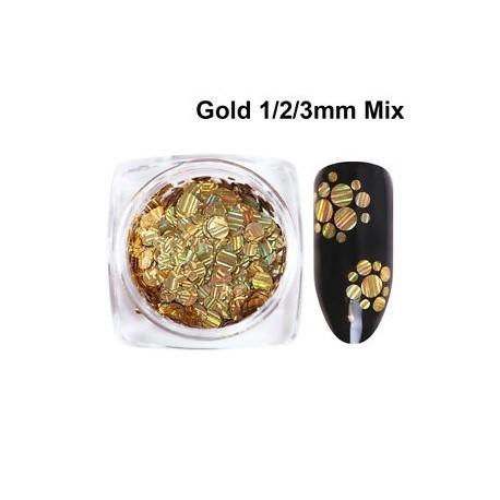 b4f95b29ec Arany 1/2 / 3mm keverék - Ragyogó holografikus lézerfólia csíkos glitter  Nail Art DIY kellék Decoratio