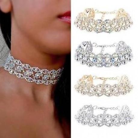 c11651d98d Luxus Crystal strassz medál Choker nyakörv nyaklánc Női esküvői ékszer