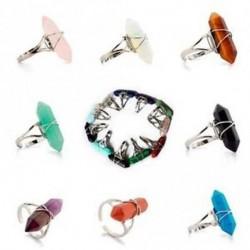 Gyógyító pont Crystal Bead Chakra Hexagon Ring Gemstone