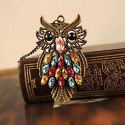 Hosszú színes ékszer medál lánc strassz bronz bagoly nyaklánc