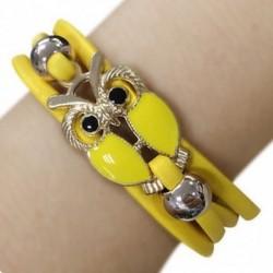 Sárga - Kézzel fonott lánc Vintage aranyozott többrétegű aranyszínű aranyozott bagoly karperec karkötő