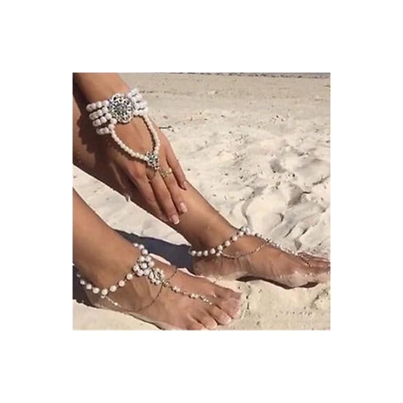 f782145487 Ezüst - Új Női Pearl Anklet Beach Karkötő mezítlábas szandál láb lánc divat  ékszer