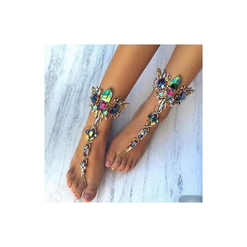 fe6ec46dcd Ezüst 1 (karkötő) - Divat Beach Anklet mezítlábas szandál láblánc Crystal  Bracelets nyári ékszerek