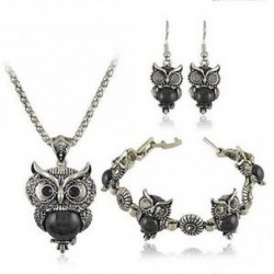 fekete - Tibeti ezüst kristály fülbevaló nyaklánc karkötő bagoly medál ékszer készlet