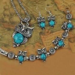 kék - Tibeti ezüst kristály fülbevaló nyaklánc karkötő bagoly medál ékszer készlet