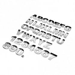 1 db 3D metál hatású ábécé matrica autó embléma betű ezüst jelvény matrica (A-Z & 0-9) NEM SZETT! 1 db választható!