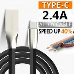 2.4A gyors töltés USB 3.1 Tipus C cink ötvözet adat szinkron töltő töltőkábel