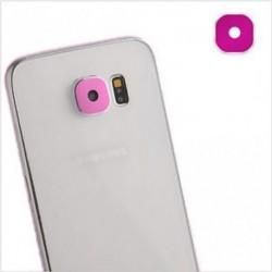 Rózsavörös - Luxus fém kamera üveglencse védő fedél tok Samsung Galaxy S6 S6Edge