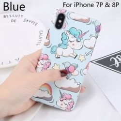 Kék-az iPhone 7p és 8p - Cellphone Shell Mobil védő Unicorn iPhone 6 / 6S iPhone 7/8 iPhone X-hez