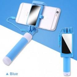 Kék - Telefon tartó tükör Selfie Stick monopod IPhone Samsung Huawei Xiaomi