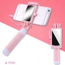 Rózsaszín - Telefon tartó tükör Selfie Stick monopod IPhone Samsung Huawei Xiaomi