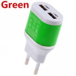 Zöld - Fali töltő Dual USB EU csatlakozó 5V / 2A hálózati adapter Samsung HTC mobiltelefonokhoz