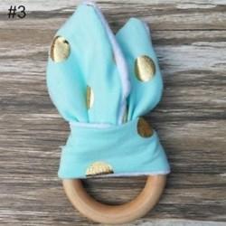 3 - A kisgyermek biztonsága fából készült nyuszi fül érzékelő játék Chewie Teether baba fogpótlás gyűrű