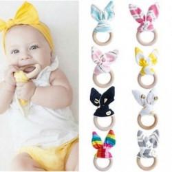 Biztonsági fából készült Természetes baba fogazású gyűrű Bell aranyos Teether Bunny érzékeny játék Új