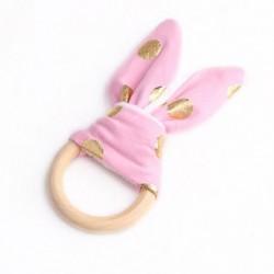 1 - Biztonsági Baba Fából készült Természetes Teething Ring Chewie Teether Aranyos Bunny Sensory Toy