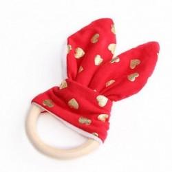 10 - Biztonsági Baba Fából készült Természetes Teething Ring Chewie Teether Aranyos Bunny Sensory Toy