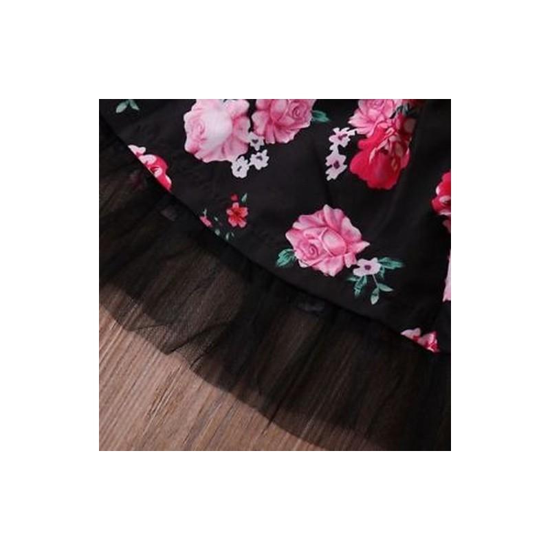 2bda7682b3 ... Rövid ujjú Baby Girl ruha Rose virág nyomtatott felső és rövid szoknya  csipke ...