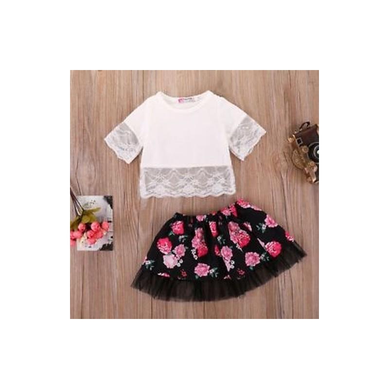 96a6e0fafb ... Rövid ujjú Baby Girl ruha Rose virág nyomtatott felső és rövid szoknya  csipke