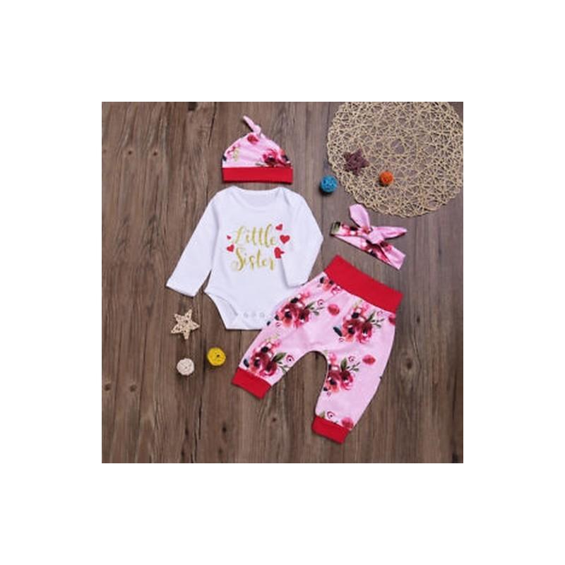 36998d6594 2018 Új érkezés gyerekek lány virágos ruházat kalap nadrág nadrágot  kisgyermek bébi ruhák ...