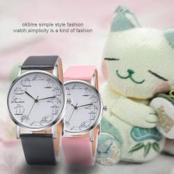 Népszerű aranyos cica magyka rajz rozsdamentes karóra új design 1db