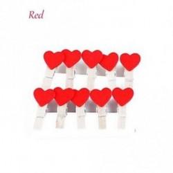 Piros - 10 PCS Esküvői kedvek Party kellékek Fából készült lábak Craft Mini Heart fényképklipek