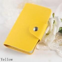 Sárga - 24Card Slots kétoldalas műanyag kártya tartó kis méretű üzleti hitelkártya táska