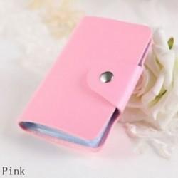 rózsaszín - Táskák Candy Color Protector Aranyos kártya tartó PU Leather 24 Slots Organizer