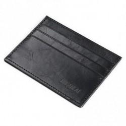 * 1 fekete - Férfi őrült ló bőr Slim hitelkártya-tartó tartó pénztárca tok pénztárca táska tasak