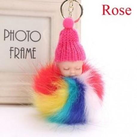21ae0a0787 Rózsa - Autó medál Plüss báb játék Rainbow kulcstartó kulcs kulcsa Alvó  baba kulcstartó