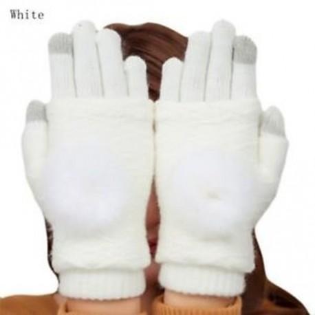 4570d5a541 fehér - Téli kesztyűk Női meleg pompám szőrme labda ujjatlan  érintőképernyős ujjatlan kesztyű