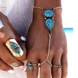 Női háromszög türkiz karkötő rabszolga ujj kézi lánc öv karperec ékszer ajándék