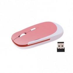 Rózsaszín - 2,4 GHz-es vezeték nélküli egér optikai ultravékony egér USB vevővel PC-hez