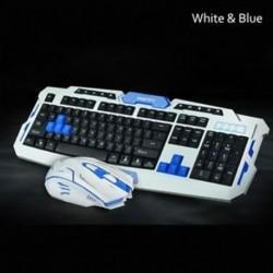 Fehér kék - 1PC vezeték nélküli billentyűzet egér kombinációs készlet USB 1600DPI játék egér   vízálló