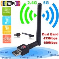 150Mbps kétsávos 2.4 / 5Ghz vezeték nélküli WiFi WiFi hálózati adapter w / 802.11AC antennával