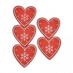 Piros szív - 5db fa címke Xmas Tree Hanging otthoni irodai dekoráció kellékek Karácsonyi ajándék
