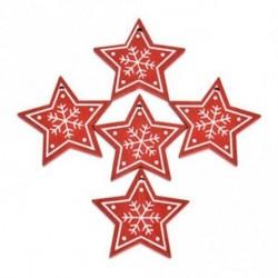 vörös csillag - 5db fa címke Xmas Tree Hanging otthoni irodai dekoráció kellékek Karácsonyi ajándék