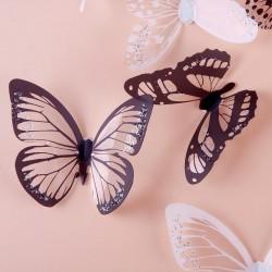 18db fekete fehér vagy színes 3D pillangó fali matrica dekor