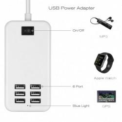 1x Többportos USB gyors töltő 6-portos adapter fali AC tápegység US / EUPlug