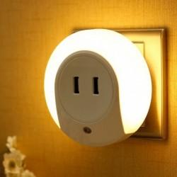 1x LED éjszakai fényérzékelő 2 USB töltő aljzat mobiltelefon töltő 110v 220v 0.5w