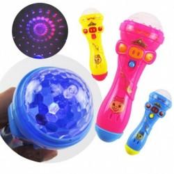 1x Fény villogó vetítés LED játék mikrofon fáklya alakú gyermek játék
