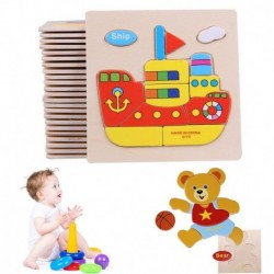 1x Jármű fa vonat blokkok kisgyermek baba gyerekek gyermek oktatási játék puzzle