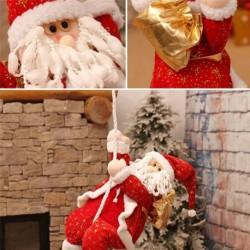 Kötélen mászó Mikulás - Télapó figura - Karácsonyi dekoráció - 36cm