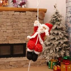 Kötélen mászó Mikulás - Télapó figura - Karácsonyi dekoráció - 30cm