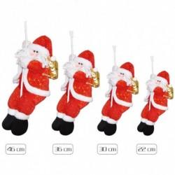 Kötélen mászó Mikulás - Télapó figura - Karácsonyi dekoráció - 22cm